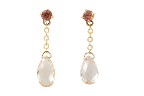 18ct Earrings in Yellow Gold with Orange Sapphire Studs & Apricot Briolette Sapphire Drops