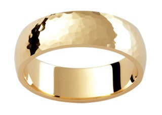 9ct Yellow Gold Beaten Finish Ring