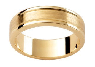9ct Yellow Gold Satin Centre Ring