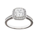 Sybella Silver Cushion CZ Halo Ring