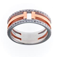 SYBELLA ROSE GOLD & CUBIC ZIRCONIA T-BAR RING