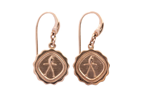 9ct Earrings In Rose Gold With Bird of Paradise Charm