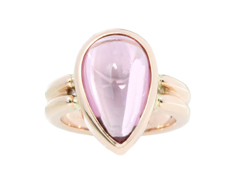 18ct Ring In Rose Gold With Cabochon Tear Drop Pink Tourmaline