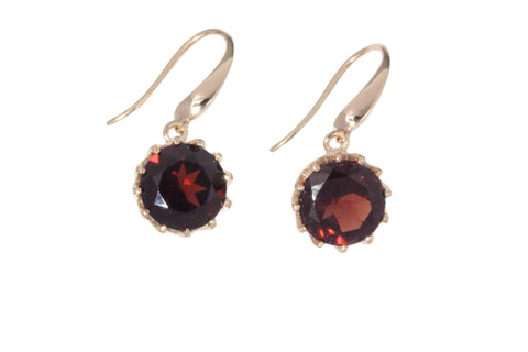 9ct Earrings In Rose Gold With Garnets On Shepherd Hooks
