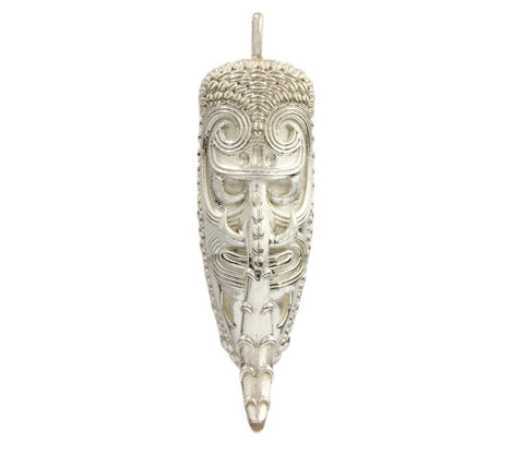 Silver Pendant from Papua New Guinea -South Pacific Mask With Shell and Pigs Tusk