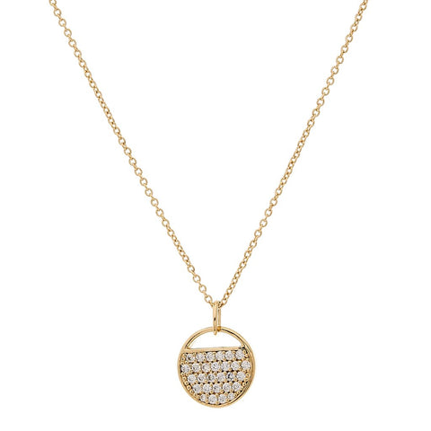 SYBELLA YELLOW GOLD PLATE AND CUBIC ZIRCONIA TAG PENDANT