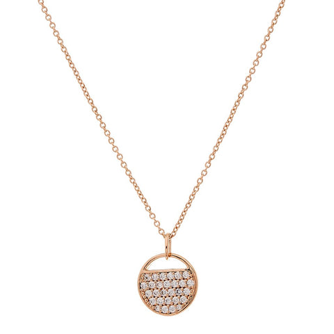 SYBELLA ROSE GOLD PLATE AND CUBIC ZIRCONIA TAG PENDANT
