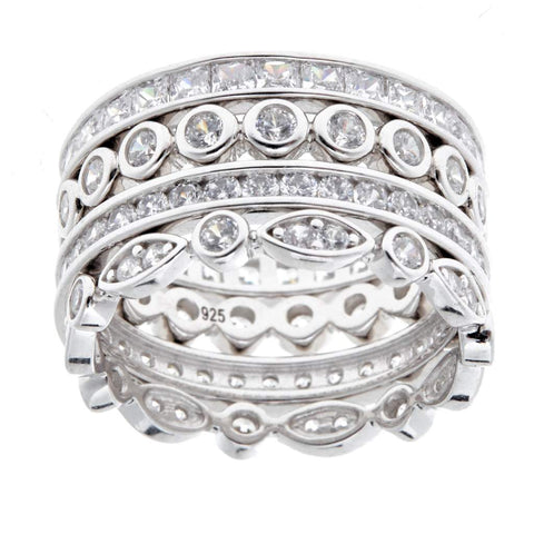 Sybella Ring With Sterling Silver & 4-Piece Stack Cubic Zirconia
