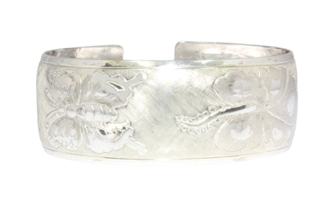 Silver Bangle With Bird Of Paradise, Hibiscus, Butterfly And Rose