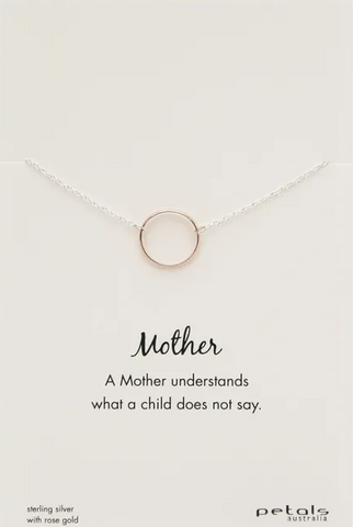 Silver Necklace With Rose Gold Plated Pendant - Mother