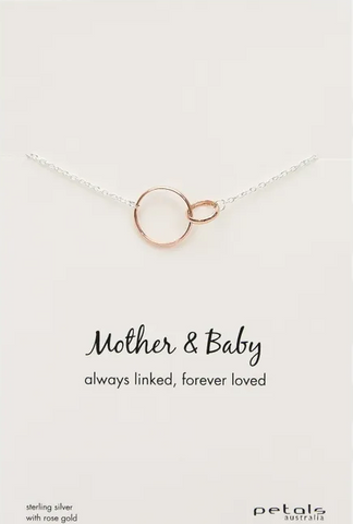 Silver Necklace With Rose Gold Plated Pendant - Mother & Baby
