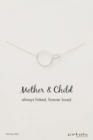 Silver Necklace With Silver Pendant - Mother & Child
