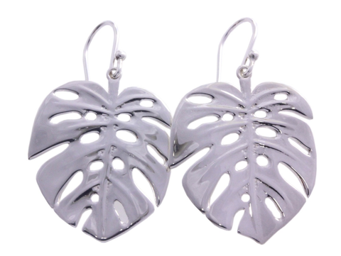 Silver Earrings With Large Monstera Or Elephant Ear Palms