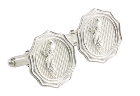 Silver Cufflinks With Bird Of Paradise From Papua New Guinea