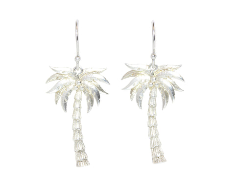 Silver Earrings With Coconut Trees
