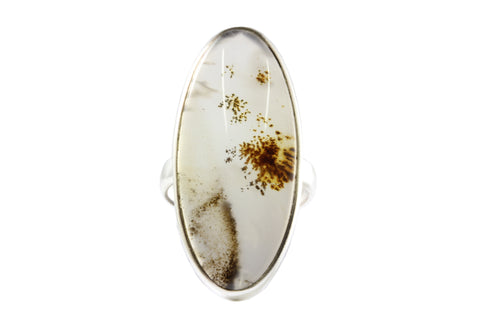 Silver Landscape Agate Ring
