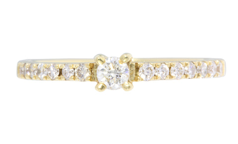 18ct Ring In Yellow Gold With Diamonds