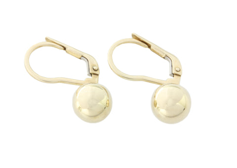 9ct Earrings In Yellow Gold Euro Ball On Continental Hoop