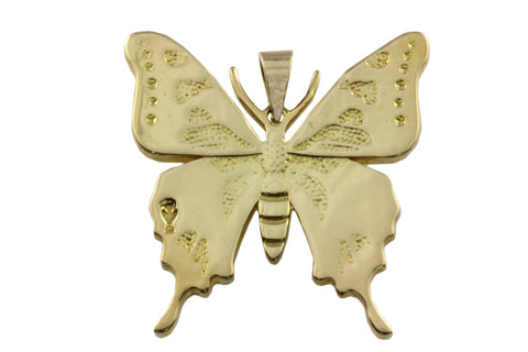 18ct Pendant In Yellow Gold With Purple Spotted Swallowtail Butterfly