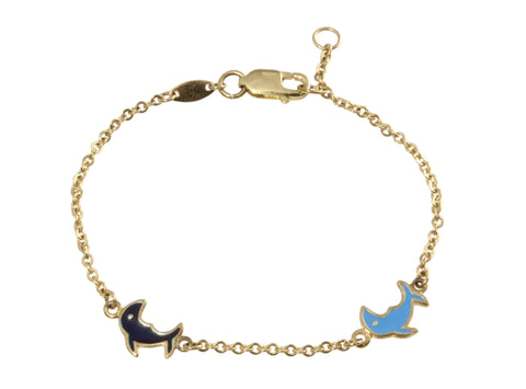 9ct Bracelet in Yellow Gold with Enamel Dolphins
