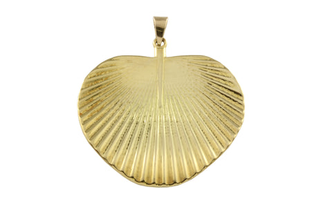 18ct Pendant with Yellow Gold Fan Palm Leaf