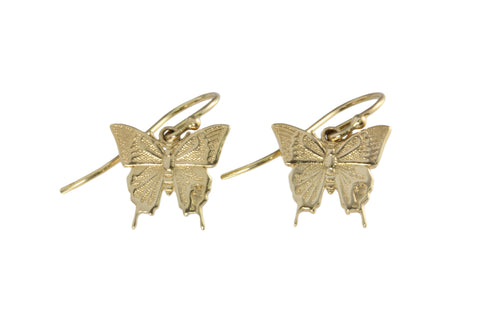 9ct Earrings In Yellow Gold With Ulysses Butterfly On Shepherd Hooks