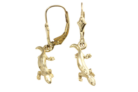 9ct Earrings In Yellow Gold With Lizard On Shepherd Hooks