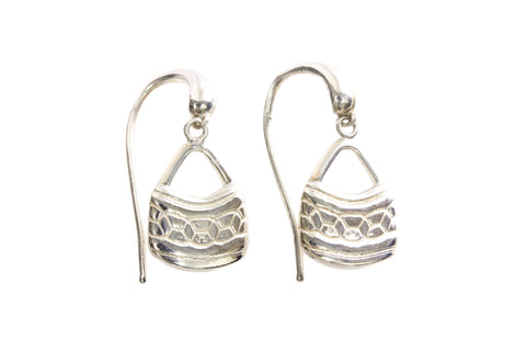 Silver Earrings With Bilum Basket Design