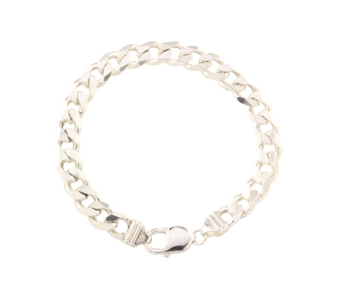 Silver Bracelet With Flat Curb Link