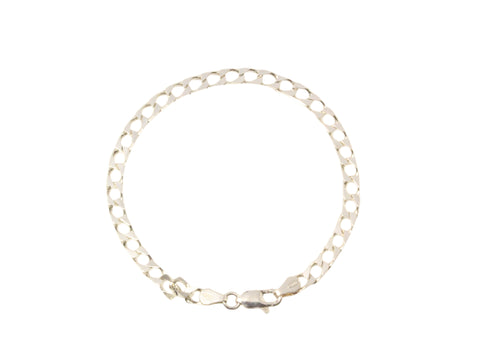 Silver Curb Bracelet With Parrot Clasp