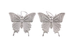 Silver Earrings With A Giant Swallowtail Butterfly On Shepherds Hooks