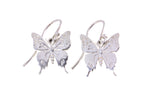 Silver Purple Spotted Swallowtail Butterfly Earrings