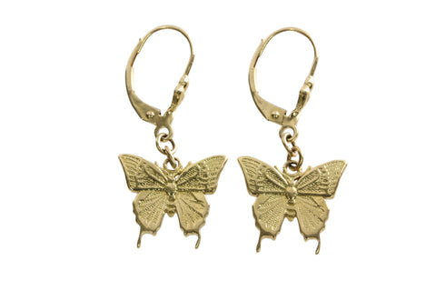 18ct Earrings in Yellow Gold with Ulysses Butterflies on Shepherds Hooks