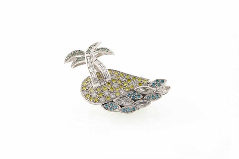 18ct Brooch In White Gold Diamond Island
