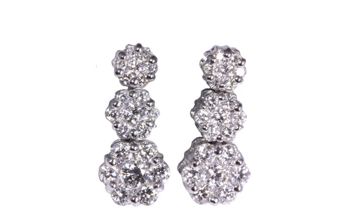 18ct Earrings in White Gold with 3 Pave Diamond Clusters