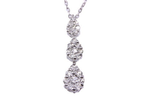 18ct Necklace in White Gold With a Tripple Pave Pear Shaped Diamond Pendant
