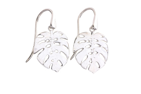 Silver Earrings With Medium Elephant Ear Palm Leaves