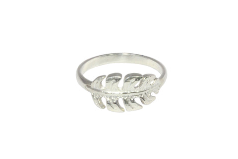 Silver Ring With Fern Leaf