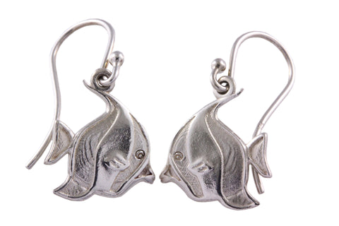 Silver Earrings Of a Butterfly Fish