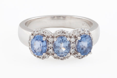 18ct White Gold Spinel & Diamond Ring