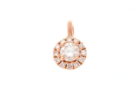 18ct Pendant In Rose Gold With Diamond Cluster