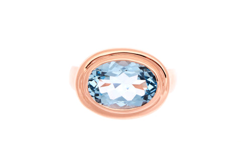 9ct Rose Bezel Set Blue Topaz Ring