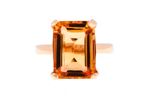 9ct Ring In Yellow Gold With Citrine 14x12mm