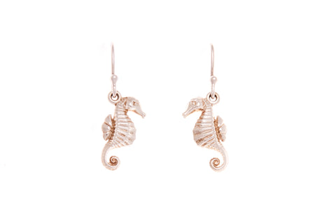 Silver Earrings With Seahorse On Shepherd hooks