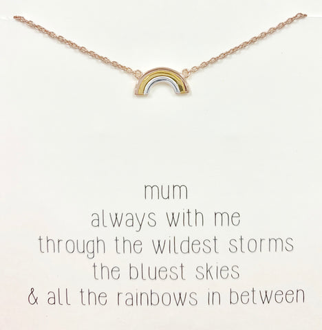 Silver Necklace With Rose & Yellow Gold Plated Rainbow