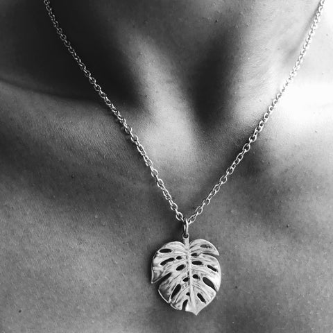 Silver Pendant With Large Monstera Leaf