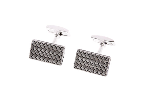 Sterling Silver Cufflinks With Herringbone Design