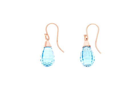 9ct Earrings In Rose Gold With Faceted Blue Topaz From Brazil