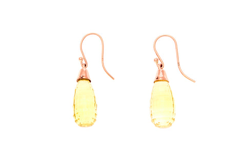 14ct Earrings In Rose Gold With Faceted Lemon Citrines