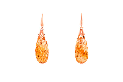14ct Earrings In Rose Gold With Carved Citrines From Brazil
